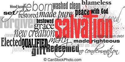 mot, montage, croix, chrétien, salut, rouges