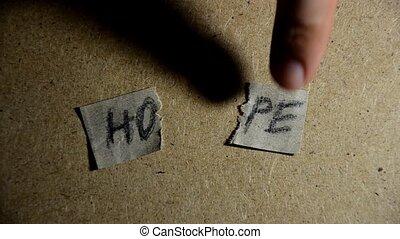 mot, morceaux, concept., espoir