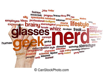 mot, nerd, nuage