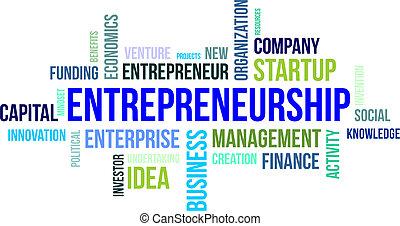 mot, -, nuage, entrepreneurship