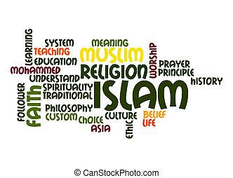 mot, nuage, islam