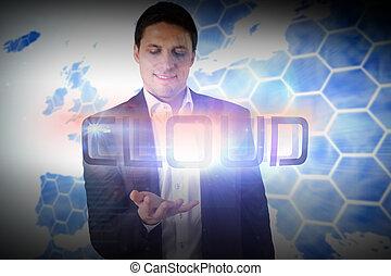 mot, nuage, présentation, homme affaires