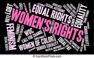 mot, nuage, womens, droits