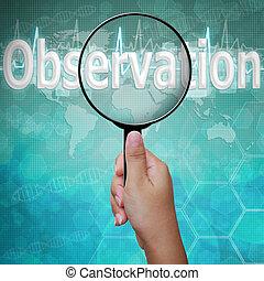 mot, observation, monde médical, verre, fond, magnifier