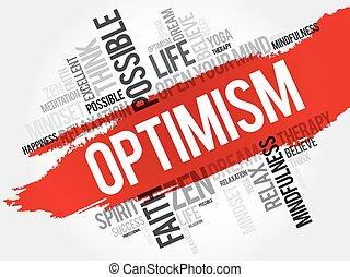 mot, optimisme, nuage