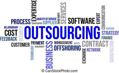 mot, -, outsourcing, nuage