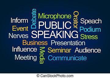 mot, parler, public, nuage