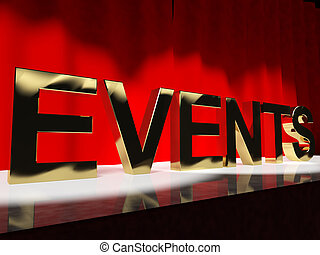 mot, parti, projection, evénements, ordre du jour, festivals, concerts, étape