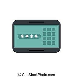 mot passe, panneau, numérique, code, sécurité