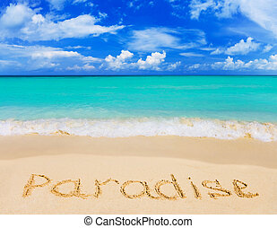 mot, plage, paradis