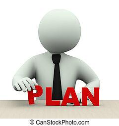 mot, plan, 3d, homme, business