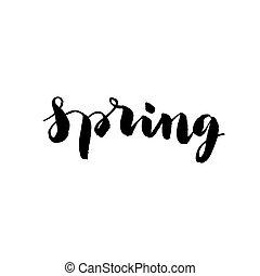 mot, printemps, -, main, vecteur, dessiné
