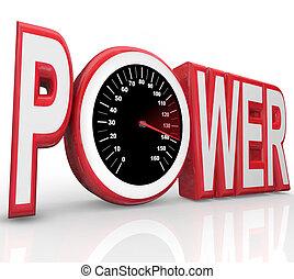 mot, puissance, courses, énergie, puissant, compteur vitesse, vitesse