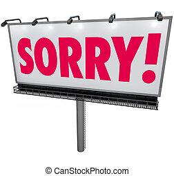 mot, regret, excuses, s, demander, remords, panneau affichage, désolé, pardon