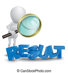 "mot, ""result"", personne, regarder, verre, magnifier, 3d"