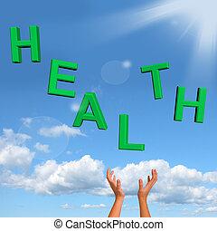 mot, sain, projection, attraper, condition santé