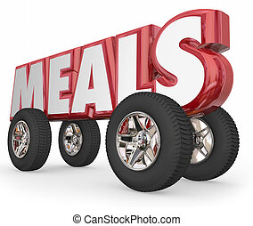mot, service, nourriture, livraison, roues, 3d, repas, charité