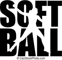mot, silhouette, softball, coupure