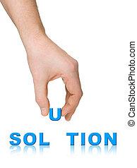mot, solution, main