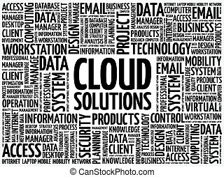 mot, solutions, nuage