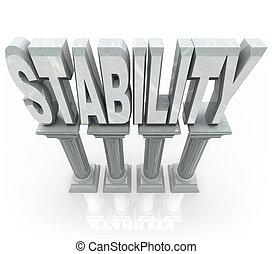 mot, soutien, stabilité, fiable, fort, colonnes