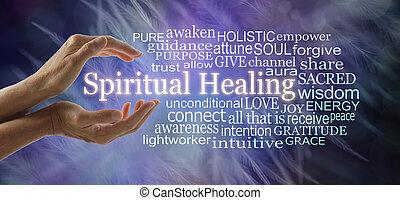 mot, spirituel, nuage, mots, associé, guérison