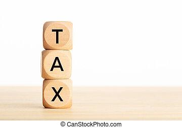 mot, table., impôt, bois, taxation, concept., blocs