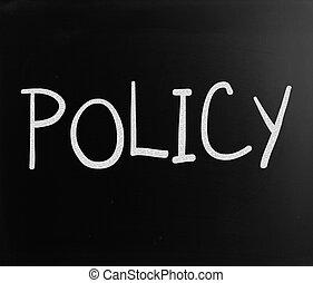 """mot, tableau noir, craie, """"policy"""", blanc, manuscrit"""