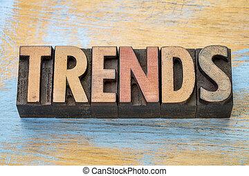 mot, tendances, résumé, bois, type