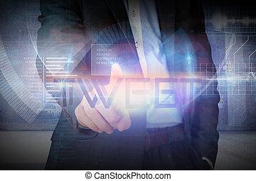 mot, tweet, présentation, homme affaires