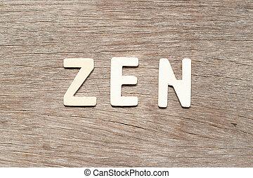 mot, zen, bois, alphabet, fond, lettre
