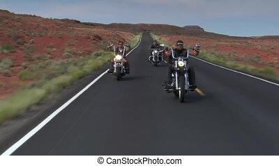 motards, désert, redrock, autoroute, trois