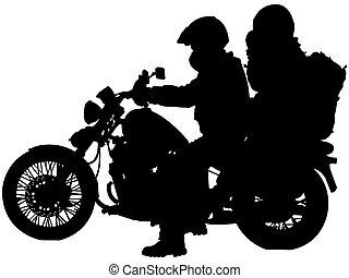 motards, silhouettes, motocyclette