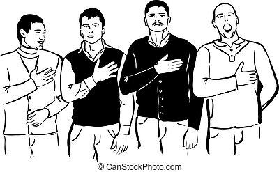 motet, national, hommes, quatre, leur, chanter, écouter