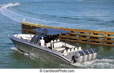 moteur, argent, bateau, high-end