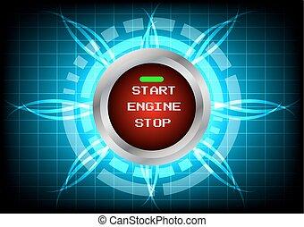 moteur, arrière-plan bleu, début, technologie, lumière, abstrack, effet, bouton