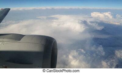 moteur, avion, nuages, aile, vue