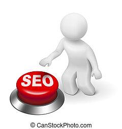 moteur, bouton, homme, seo, optimization), (search, 3d