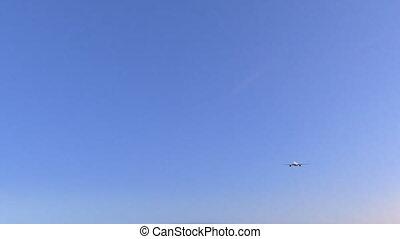 moteur, commercial, conceptuel, jumeau, animation, jordanie, 4k, amman, arrivant, aéroport., avion, voyager