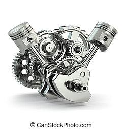 moteur, concept., pistons., engrenages