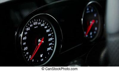 moteur, coup, compteur vitesse, voiture, haut, commutateur, fin, cabine