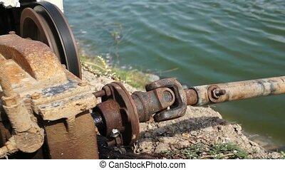 moteur, eau, turbines, conduite