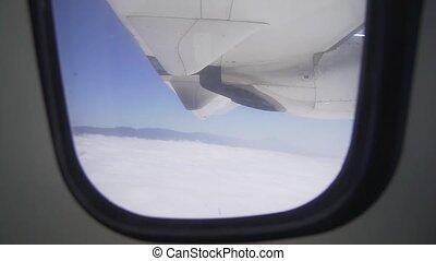 moteur, fenêtre, vol, aile avion, transport, au-dessus, air, vue, turbo, -, clouds.