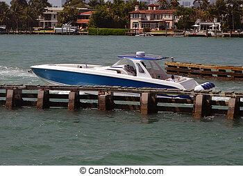 moteur, haut gamme, bateau