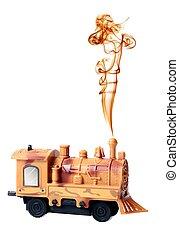 moteur, jouet, locomotive, fumée, vapeur