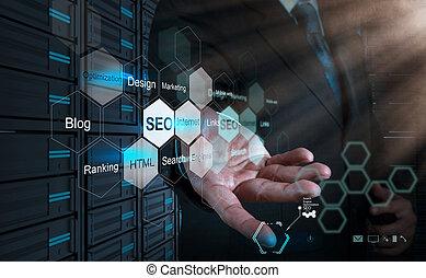 moteur, recherche, concept, projection, main, optimization, homme affaires