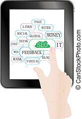 moteur, tablette, étiquettes, pc, optimization, social, nuage