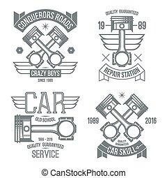 moteur, voiture, emblèmes, piston