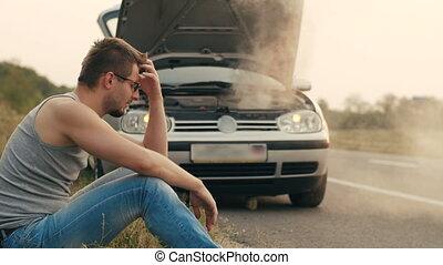 moteur, voiture, homme, surchauffé, triste