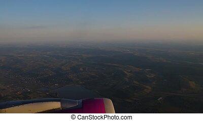 moteur, voler, avion, par, fenêtre., avion, vue